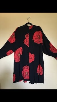 Black and red floral shawl