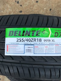 255/40/18 new tires Delinte set of 4 $380.00 no mounted no balance or sale by piece for $100.00 each tire. Dallas, 75228