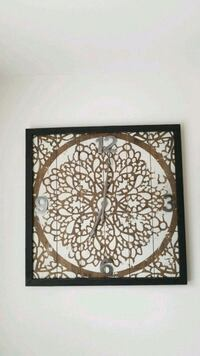 square black and brown wooden analog wall clock Magnolia, 19962