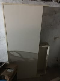 White Full size bedroom set with shelves