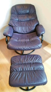 Leather lounge chair with ottoman