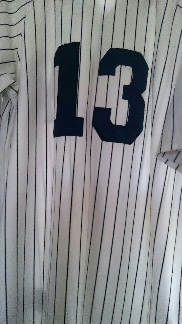 white and navy blu striped 13 printed jersey shirt