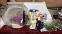 Large Filtered Fish Bowl Aquarium and Accessories For Sale