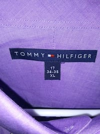 Tommy Hilfiger Purple Color Button Up Collared Dress Shirt