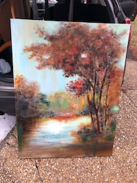 Brown and green trees painting Jackson, 08527