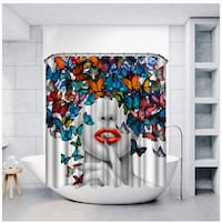 New! Vividhome Sexy Girl w/ butterfly print shower curtain!