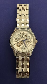 Round gold guess skeleton watch with link bracelet Normal, 61761
