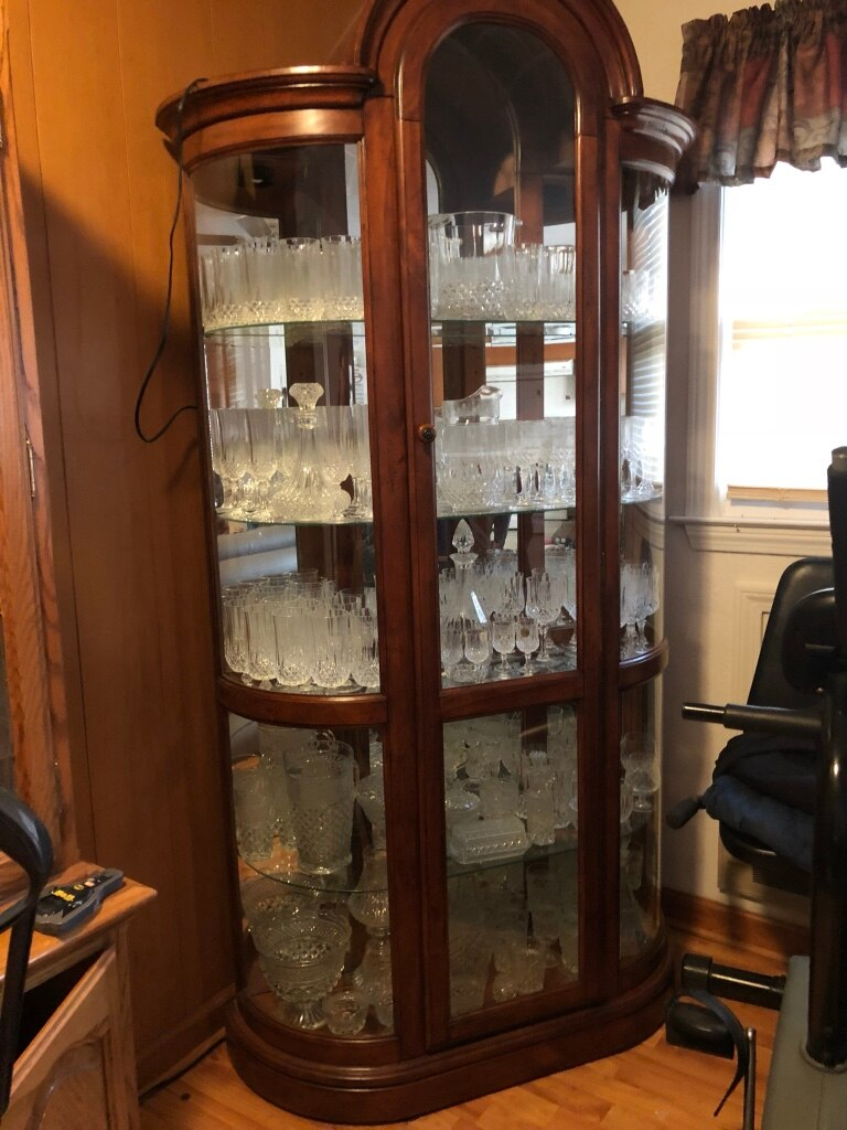 used brown wooden framed glass display cabinet for sale in east flat rh gb letgo com