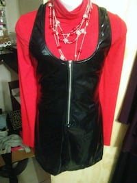 women's red and black long-sleeved dress League City, 77573
