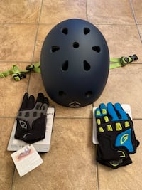 Pro-Tec-Cert matte blue helmet, never used in the box, with free never used  gloves, size small San Jose, 95124