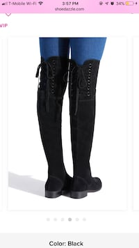 Pair of black leather round toe knee-high boots screenshot Puyallup, 98372