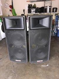 Two black sonic speakers