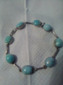 Larimar stone braclet set in silver jewelry
