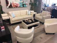 Ivory Leather Living Room Set Fountain Valley, 92708