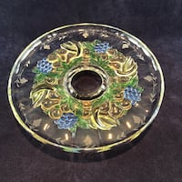 "13"" Platter with colorful design and small pedestal base. Light scratches in the Centre that aren't really noticeable"