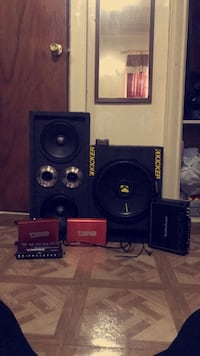 2- DS18 CANDY-1DR 1200 Watt Monoblock Class D Amplifier Mini Amp Red One For Voice & One For Subs   Rockford Fosgate Prime R [TL_HIDDEN]  Watt RMS 2-Channel Car Amplifier   & One DS18 Equalizer... speakers (2) 8 inch voice & one 12 inch kicker subs  New York, 10462