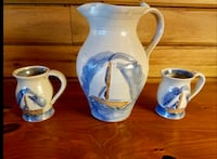 New Handmade White & Blue Annapolis Pottery