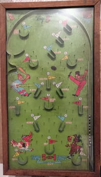 "1933 Poosh m up ""big 5"" Baseball Pinball Game Woodbridge"