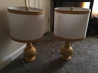 two brown wooden base white shade table lamps Sacramento, 95828