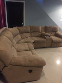 brown suede sectional couch with ottoman Sandy Springs, 30342