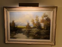 Wilderness landscape with gorgeous antique gold frame and gold lamp  Toronto, M3A