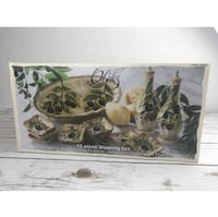 New  Tabletops Unlimited Olives 11 Piece Hand Painted Dipping Set Henderson