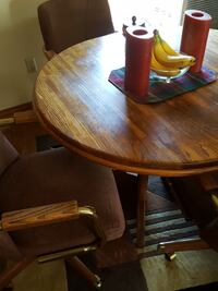 round brown wooden table set