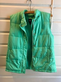 GAP turquoise down fluffy winter vest women's small