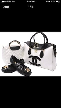 white and black leather tote bag Brossard, J4W 2Y9