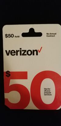 50$ Prepaid Verizon phone card  Herndon, 20171