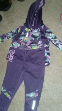 children's black and teal full zip hoodie and pant
