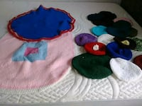blue, green, and red knit cap