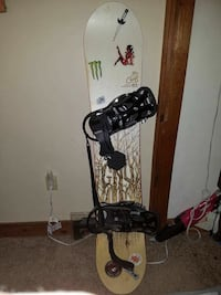 white, brown, and black snowboard with bindings Dover, 03820