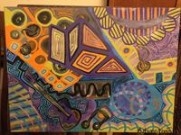 """Original Art Oil On Canvas Signed by Artist Autumn Flynn (2013) (approx 24 X 18"""") music theme abstract Glendale, 91203"""