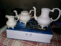 white and blue ceramic pitcher and cups Watkinsville, 30677