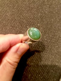 Heavy solid silver ring with Burma Jade. Surrey, V3Z 5K3