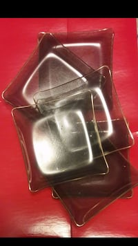 Set Of 6 Square Glass Serving Plates With Gold Rim