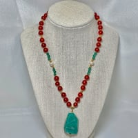 Genuine 14k Gold Jade Coral Beaded Necklace Ashburn, 20147