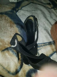 pair of black open-toe ankle strap heels Winnipeg, R3A