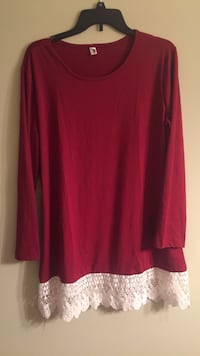 XL long red top
