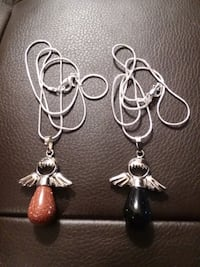 SILVER PLATED BROWN OR BLACK SANDSTONE ANGEL NECKLACE. $12 EACH