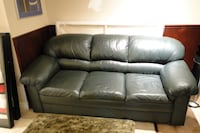 **Dark Green Leather Sofa & Chair Set** Vaughan