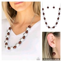 women's brown and white beaded necklace Gaithersburg