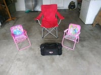 1 adult chair and 2 princess camping chairs with c Odessa