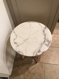 Marble side table with brass legs . Set of 2