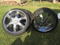 two chrome 5-spoke car wheels with tires Montegut, 70377