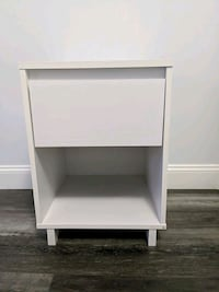 White Wooden Nightstand with Drawer