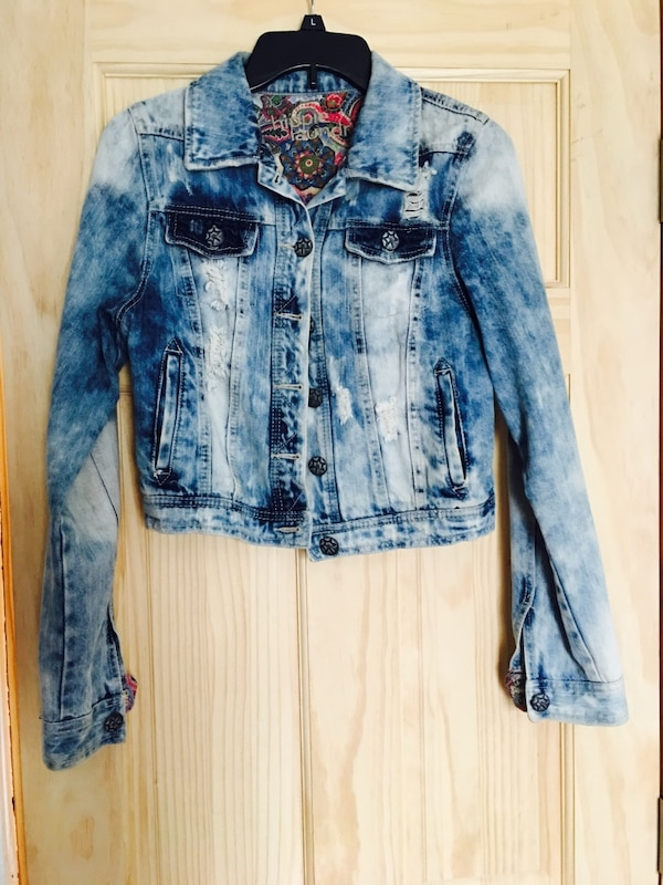 Blue and white denim button-up jacket