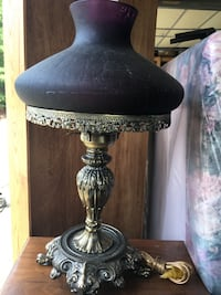 Brass Lamp w Purple Shade Columbia, 23038