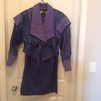 Leather outfit, royal blue, size 10, jacket and skirt Edmonton, T6W 3S2